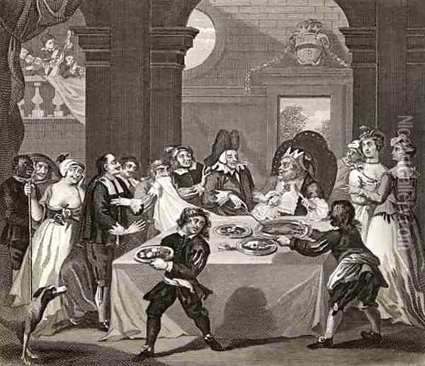 Sancho at the Feast Starved by his Physician from The Works of Hogarth Oil Painting - William Hogarth