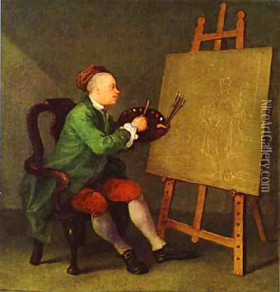 Hogarth Painting The Comic Muse 1757 Oil Painting - William Hogarth