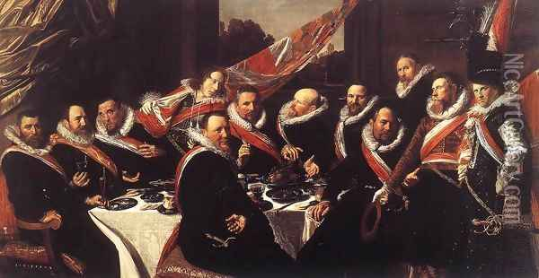 Banquet of the Officers of the St George Civic Guard 1616 Oil Painting - Frans Hals