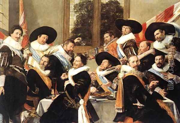 Banquet of the Officers of the St Hadrian Civic Guard Company (2) c. 1627 Oil Painting - Frans Hals