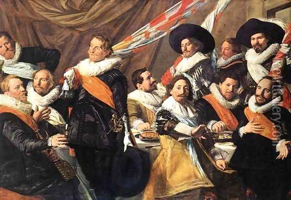 Banquet of the Officers of the St George Civic Guard Company (1) c. 1627 Oil Painting - Frans Hals