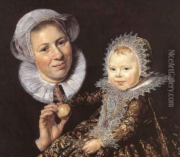 Catharina Hooft with her Nurse (detail 1) 1619-20 Oil Painting - Frans Hals
