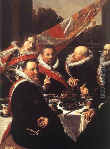 Banquet of the Officers of the St George Civic Guard (detail) 1616 Oil Painting - Frans Hals