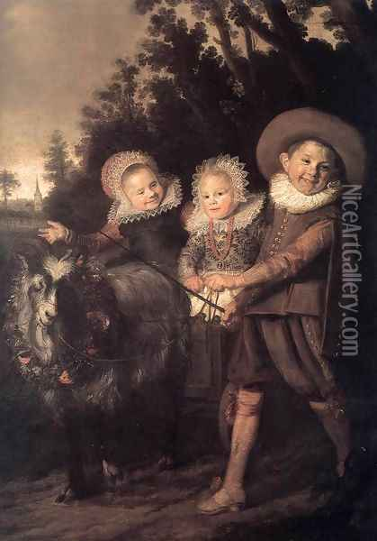 Three Children with a Goat Cart 1620 Oil Painting - Frans Hals