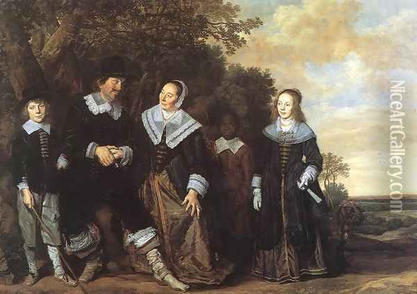 Family Group in a Landscape (1) c. 1648 Oil Painting - Frans Hals