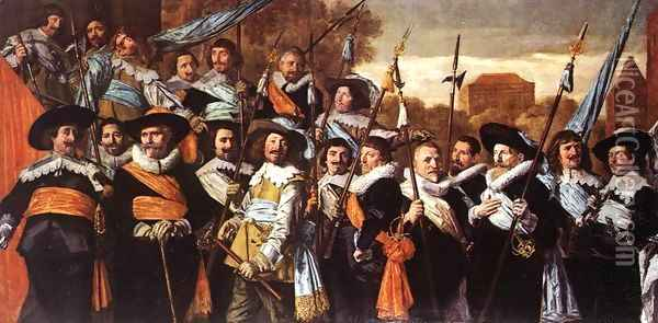 Officers and Sergeants of the St George Civic Guard Company c. 1639 Oil Painting - Frans Hals