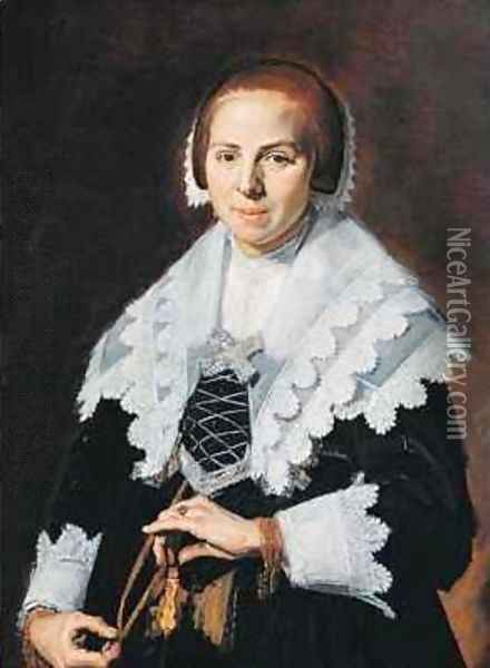 Portrait of a Woman with a Fan Oil Painting - Frans Hals