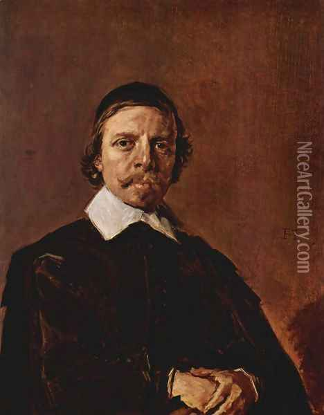 Portrait of a man with Scheitelkäppchen, pointed collar and entangled hands Oil Painting - Frans Hals