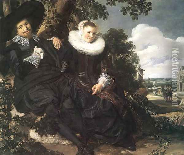 Married Couple in a Garden Oil Painting - Frans Hals