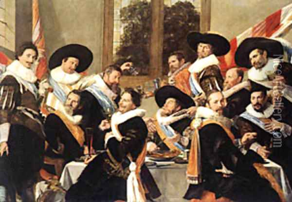 Banquet Of The Officers Of The St George Civic Guard Oil Painting - Frans Hals