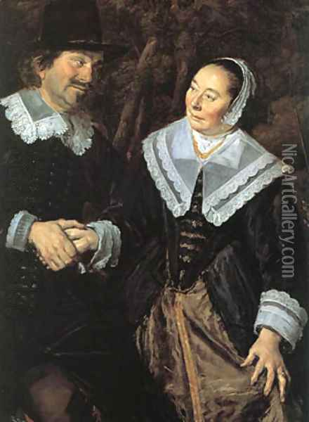 Family Group In A Landscape (Detail) 1648 Oil Painting - Frans Hals