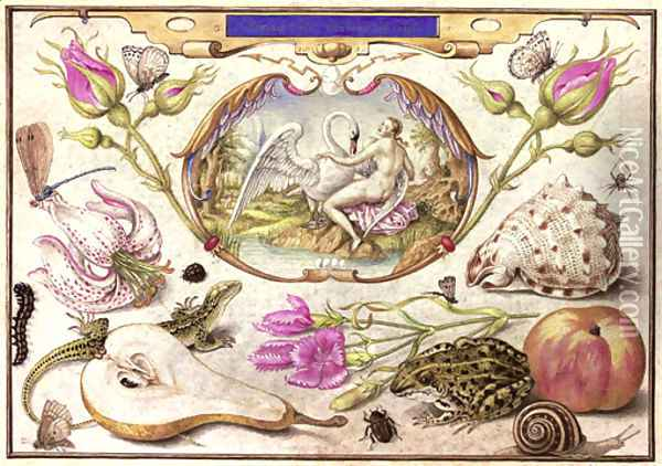 Leda and the Swan, surrounded by flora and fauna including a Stargazer Lily (Lilium 'Stargazer'), a Common Lizard (Lacerta vivipara), a Common Pear Oil Painting - Joris Hoefnagel