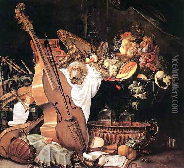 Vanitas Still-Life with Musical Instruments, 1661 Oil Painting - Cornelis De Heem