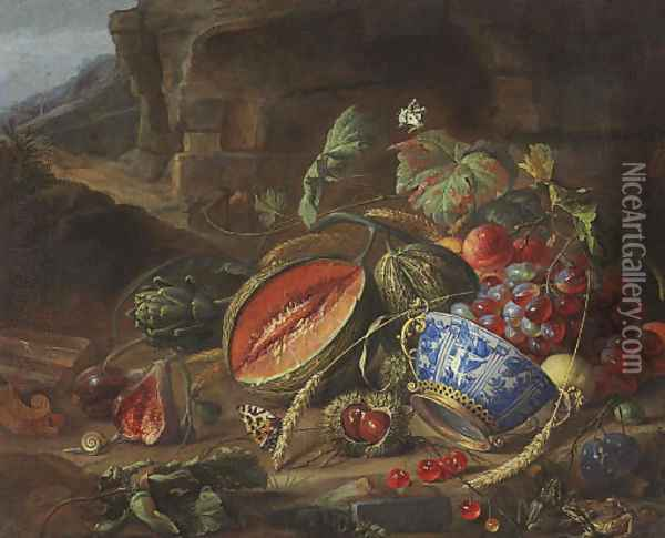Melons, peaches, grapes, cherries and other fruits, with a wan-li porcelain bowl with gilt mount, insects and butterflies, in a landscape Oil Painting - Cornelis De Heem