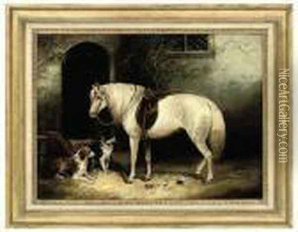 A Pony, Two Spaniels And Pigeons Outside A Stable Oil Painting - George Armfield