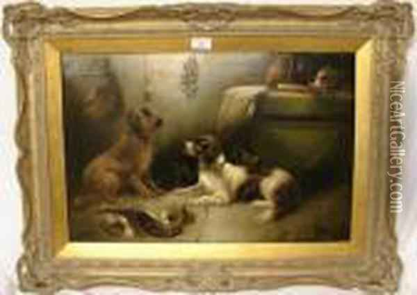 Dogs In The Larder Oil Painting - George Armfield