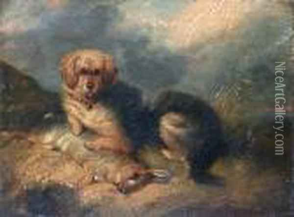 A Terrier Seated With Rabbit Oil Painting - George Armfield