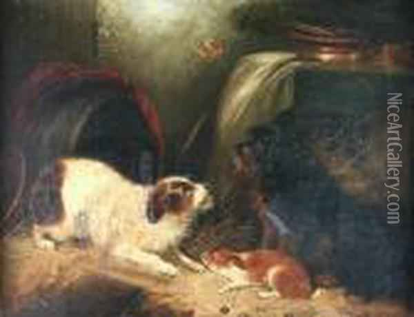 Terriers In A Barn Oil Painting - George Armfield