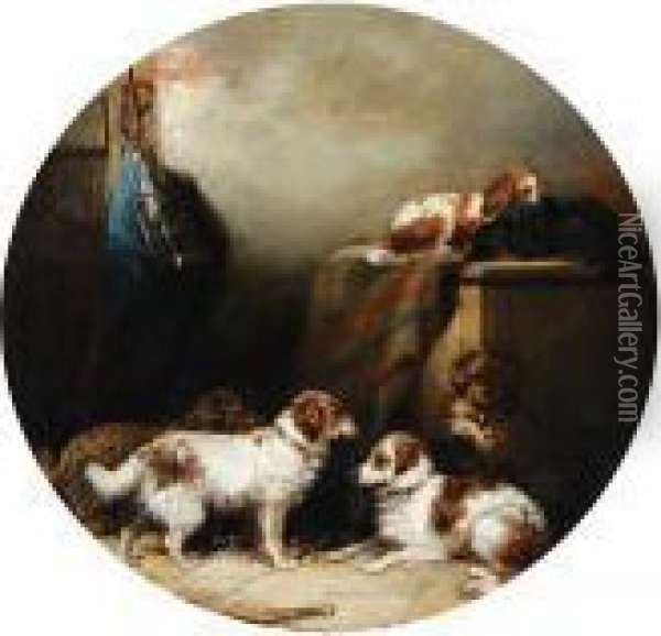 Dogs In A Stable Interior Oil Painting - George Armfield