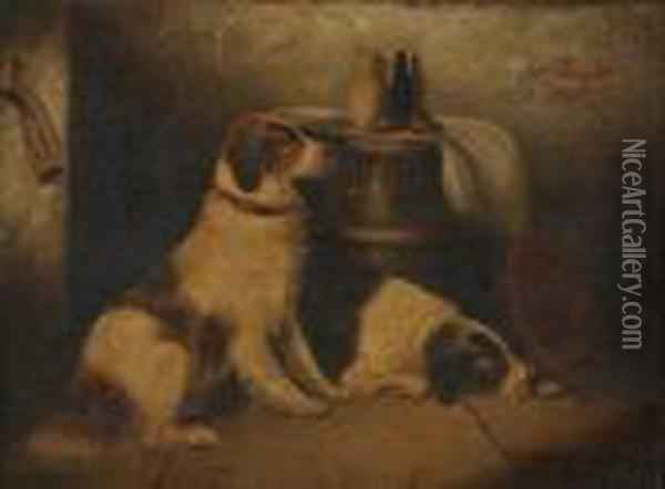 Study Of Two Dogs Oil Painting - George Armfield