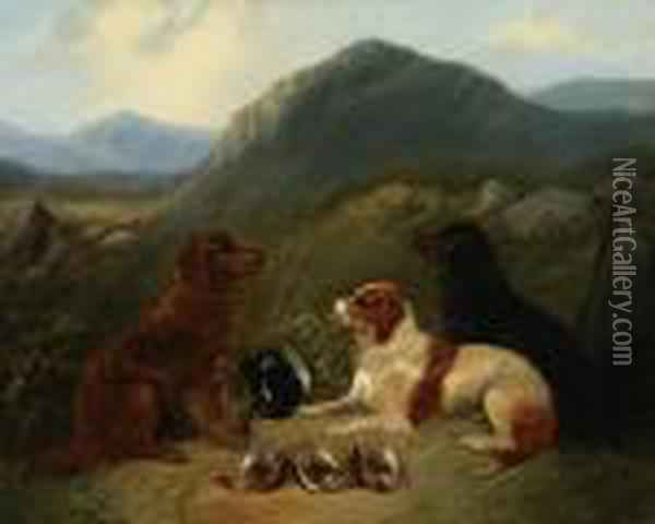 Guarding The Bag; Guarding The Dinner Oil Painting - George Armfield