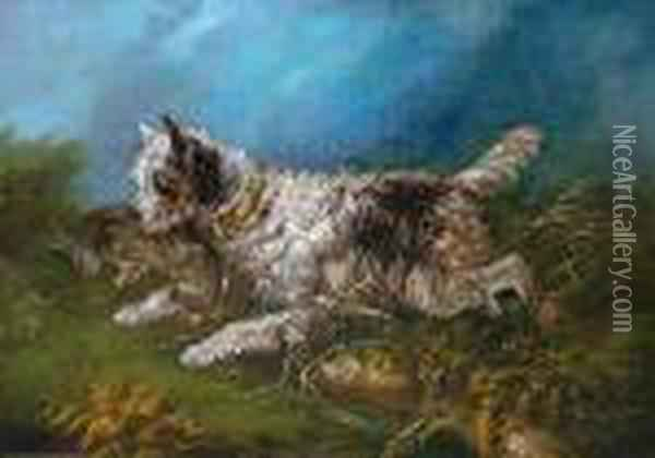 Terrier Running With A Hare Oil Painting - George Armfield