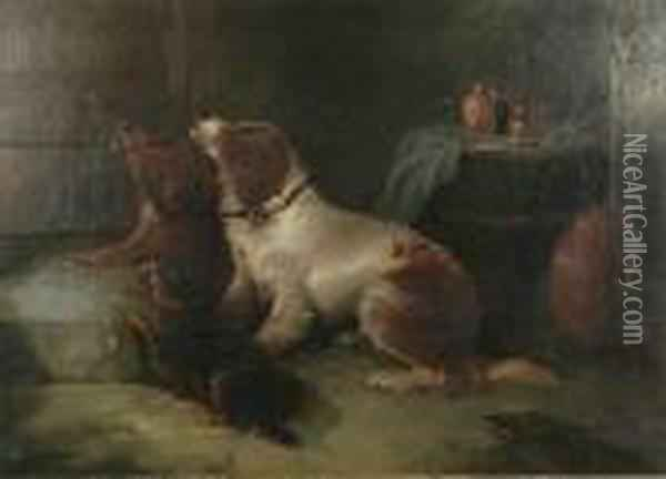 Interior With Three Dogs Oil Painting - George Armfield