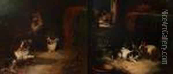 Three Dogs In An Interior Oil Painting - George Armfield