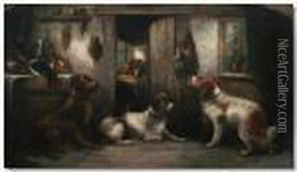 Dogs In A Cottage Interior Oil Painting - George Armfield