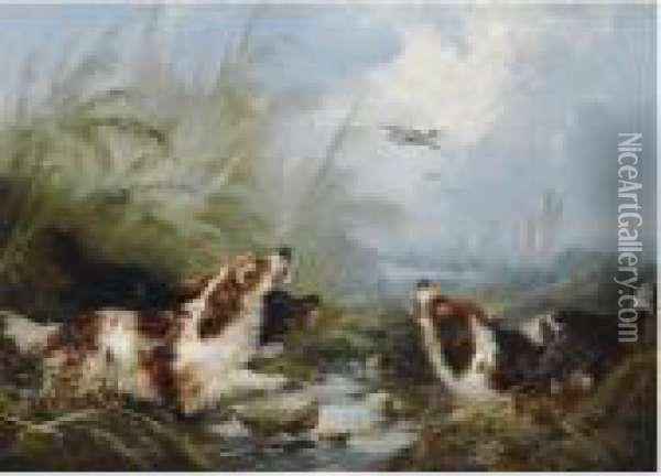 Two Hunting Scenes With Dogs Oil Painting - George Armfield