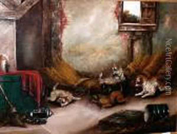 Terriers Ratting In A Stable Oil Painting - George Armfield