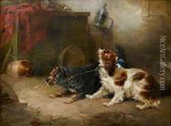 A Difference Of Opinion Oil Painting - George Armfield
