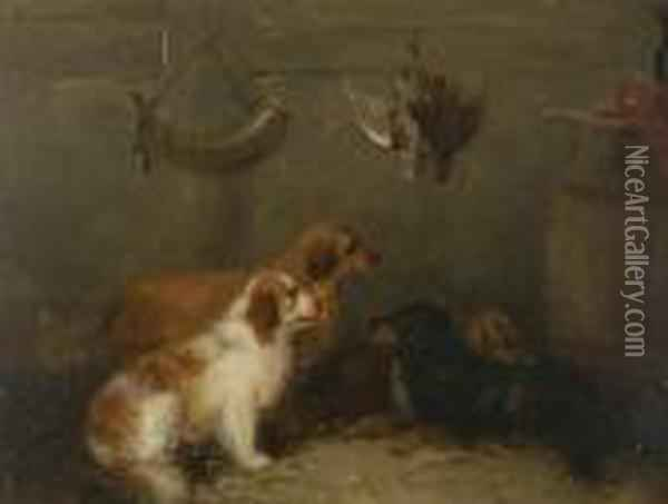Dogs In Game Larder Oil Painting - George Armfield