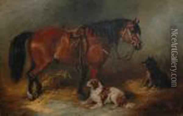 A Pony And Two Dogs In A Loose Box. Oil Painting - George Armfield