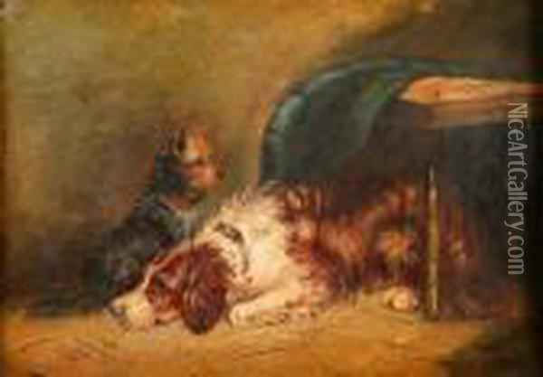 Board Terrier And Spaniel Dog By A Table Oil Painting - George Armfield
