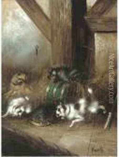 A Captive Audience Oil Painting - George Armfield