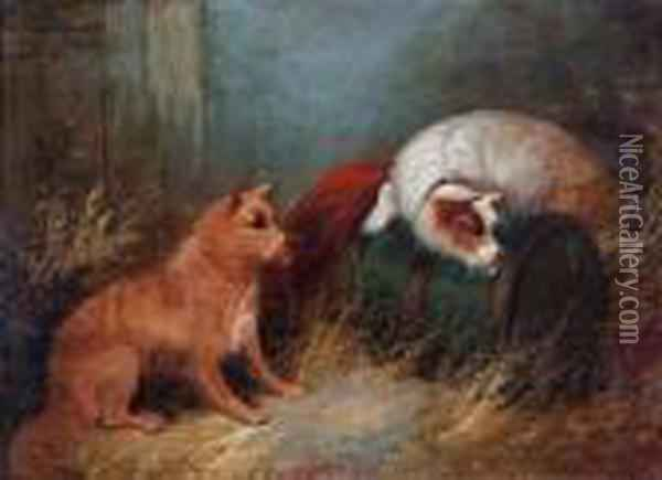 Two Terriers In A Stable Oil Painting - George Armfield