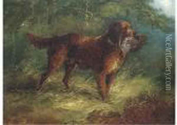 A Gundog With A Grouse Oil Painting - George Armfield