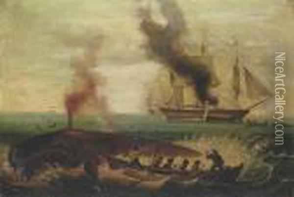 Harpooning A Whale Oil Painting - George Armfield
