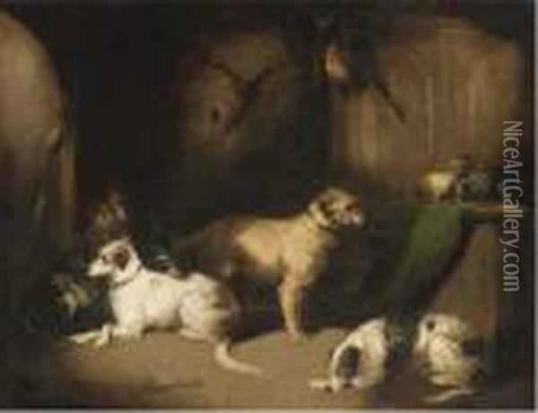 Hounds And Terriers In A Baronial Hall Oil Painting - George Armfield