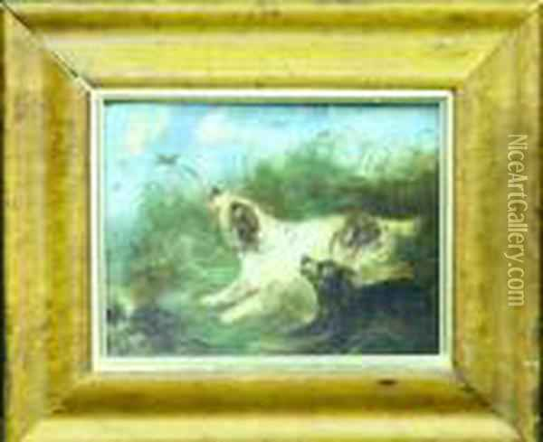 Spaniels Flushing Duck Oil Painting - George Armfield