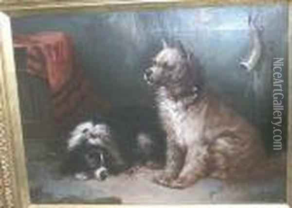 Interiorwith Two Dogs Oil Painting - George Armfield