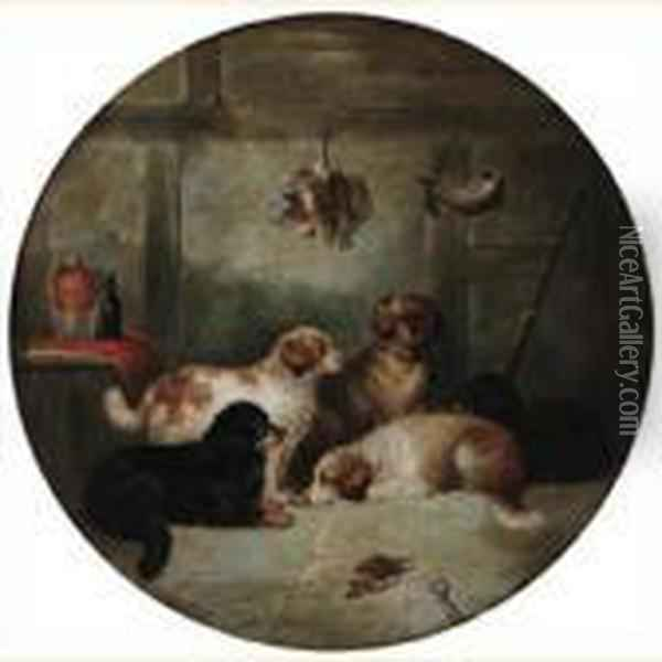 Gun Dogs In An Interior Oil Painting - George Armfield