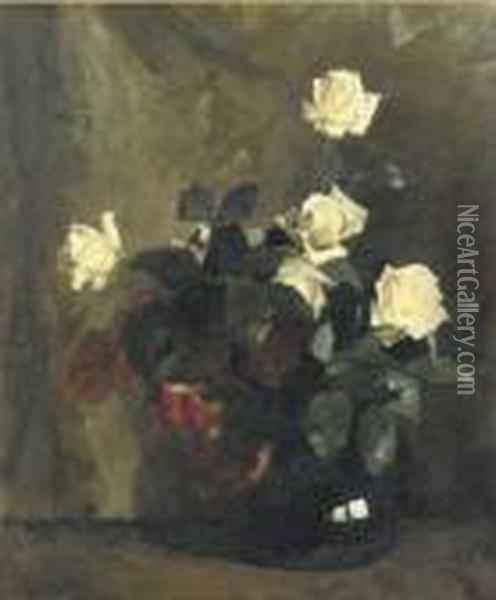White Rozes In A Black Vase Oil Painting - Floris Arntzenius