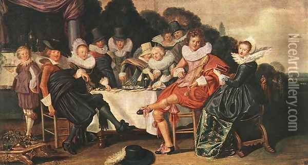 Amusing Party In The Open Air 1621 Oil Painting - Dirck Hals