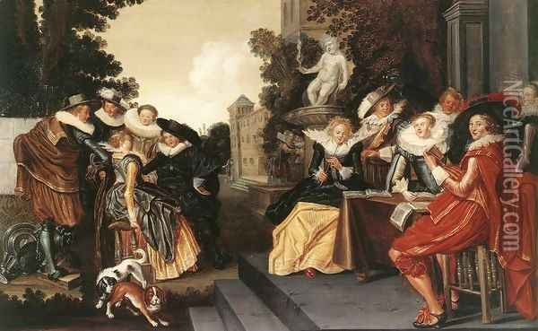 Music-Making Company on a Terrace c. 1620 Oil Painting - Dirck Hals