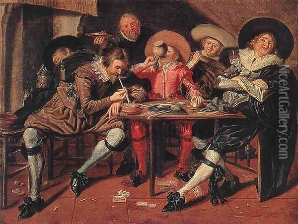 Merry Party in a Tavern 1628 Oil Painting - Dirck Hals