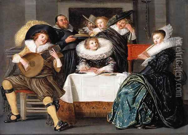 A Merry Company Making Music 1623 Oil Painting - Dirck Hals