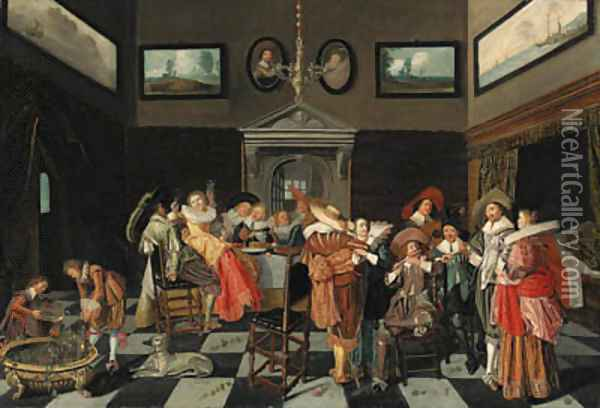 Elegant company making music and carousing in an interior Oil Painting - Dirck Hals