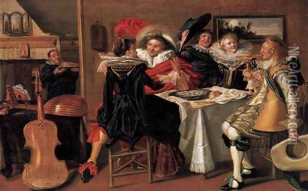 Merry Company at Table 2 Oil Painting - Dirck Hals